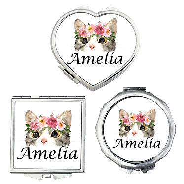 Compact mirrors three shapes round, square, heart personalized with name and cat face image front view