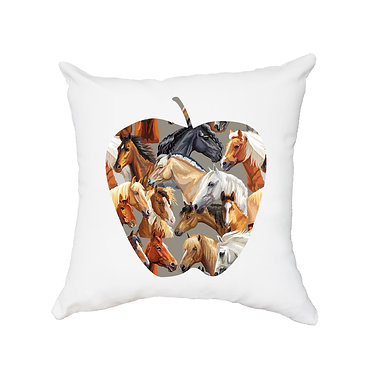 White cushion cover with zip horse pattern image front view