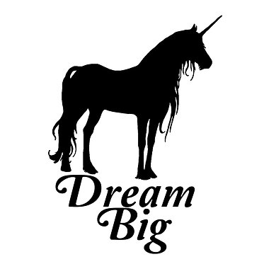 "Unicorn with quote ""dream big"" vinyl decal sticker in black front view"