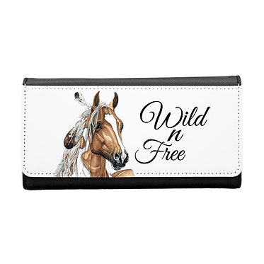Ladies/girls purse wallet paint horse wild n free image front view