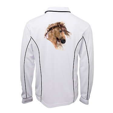 White with navy pipping adults long sleeve polo top wild paint horse image back view