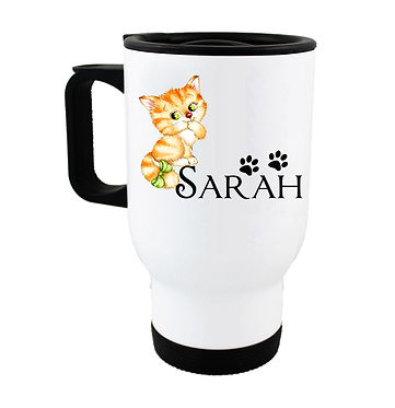 Travel mug with personalized cute kitty with bow and name image front view