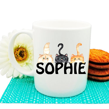 Ceramic coffee mug personalized three cats with name image front view