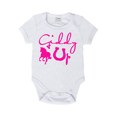 Baby romper play suit white with hot pink horse girl image front view