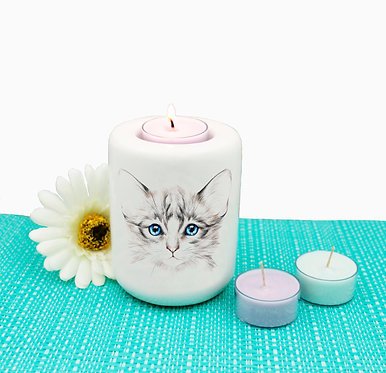 Cat ceramic tealight candle holder blue eyed kitten image front view