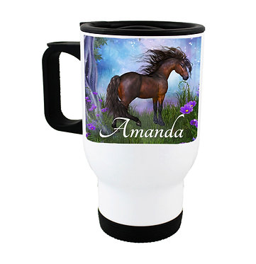 Personalised travel mug stainless steel magical horse image front view
