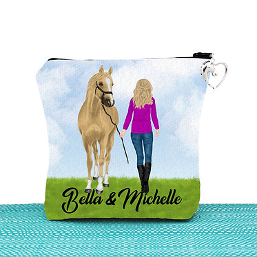 White cosmetic toiletry bag with zipper personalised blond haired girl and horse image front view