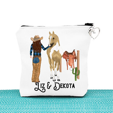 White cosmetic toiletry bag with zipper personalised brown haired cowgirl and horse image front view