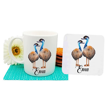Ceramic coffee mug and drink coaster set Australian Emus image front view