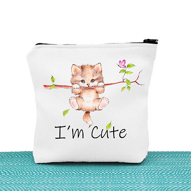 Cat theme cosmetic toiletry bag white cute kitty hanging on branch image front view