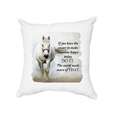 White cushion cover with zip white horse in mist with quote image front view