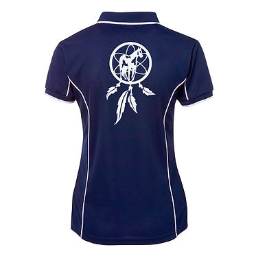 Ladies horse pipping polo shirt navy white dream catcher paint horse image back view