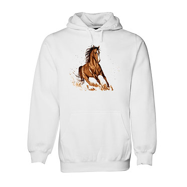 Horse hoodie jumper white with a brown horse image front view