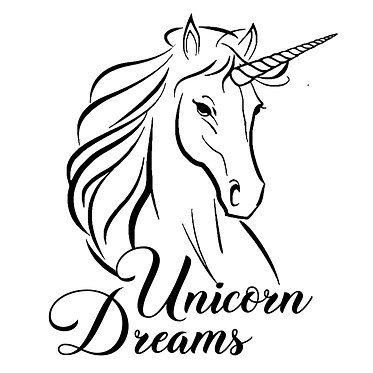 """Unicorn with quote """"unicorn dreams"""" vinyl decal sticker in black front view"""