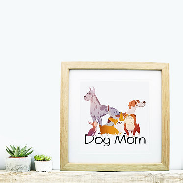 Wood picture frame square dog mom image great dog gift idea front view
