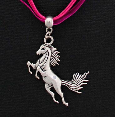 Hot Pink Rearing Horse Ribbon Necklace Front Closeup View