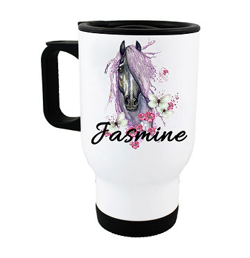 Personalised travel mug stainless steel purple horse image front view