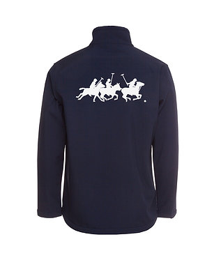 Men's softshell jacket horse polo players navy with white image back view