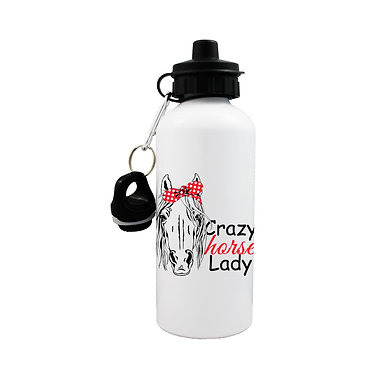 Sports water bottle crazy horse lady image front view lid on