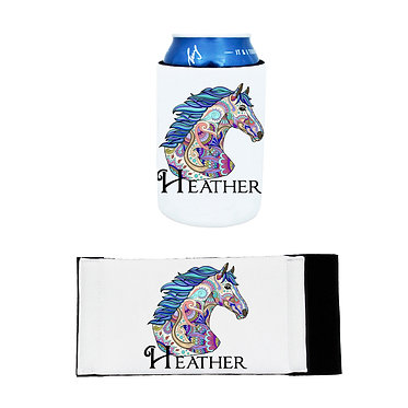 Personalised neoprene stubby cooler painted horse image front and flat view