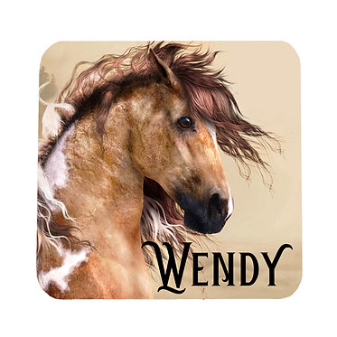 Personalised neoprene drink coaster wild paint horse image front view