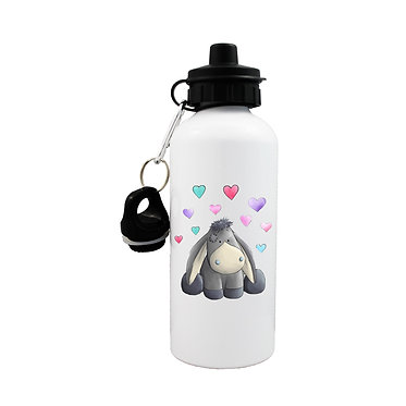 Sports water bottle with donkey with hearts image front view with lid on