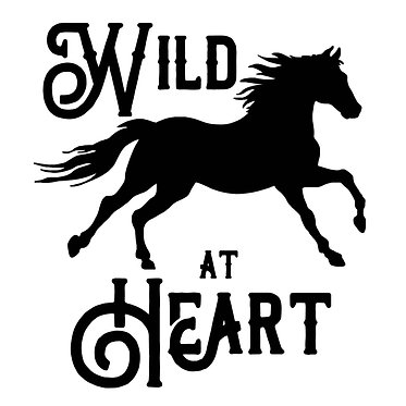 "Horse vinyl decals sticker ""wild at heart"" in black front view"