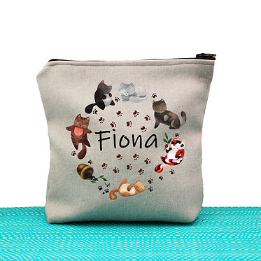 Tan cosmetic toiletry bag with zipper personalized with name and cute circle of cats image front view