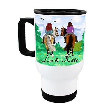 Personalised travel mug stainless steel best friends horse riding image front view