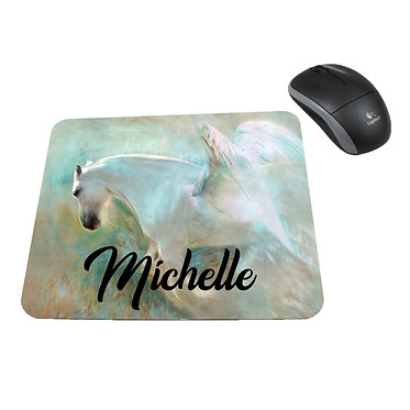 Neoprene computer mouse pad personalised angelic horse image front view