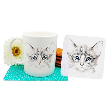 Ceramic coffee mug and drink coaster set kitten with blue eyes image front view