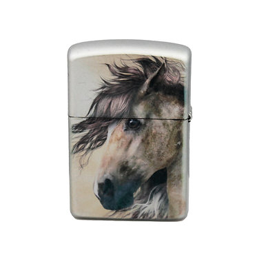 Metal horse lighter wild paint horse image front view
