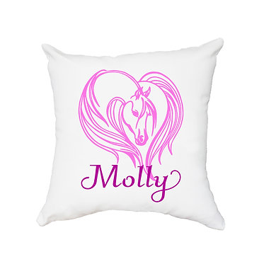 White personalised cushion with zip majestic horse hot pink image front view