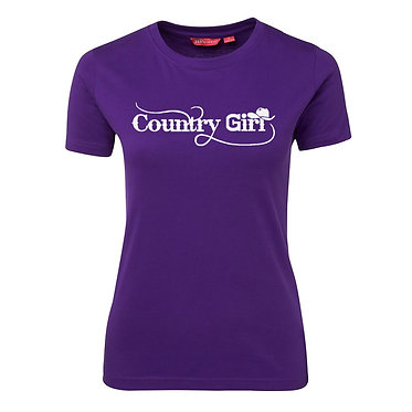 Ladies slim fit t-shirt purple with country girl with hat image front view