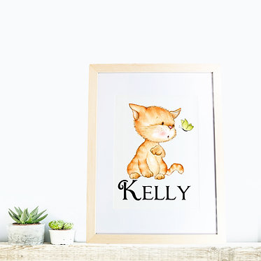 Rectangle wood picture frame personalized with cute kitty and butterfly image front view