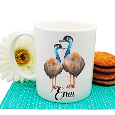 Ceramic coffee mug Australian Emus image front view