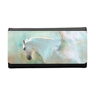 Ladies/girls purse wallet white horse with wings image front view