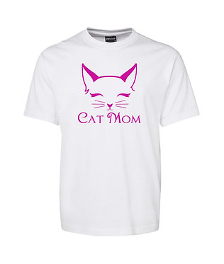 Adults t-shirt white with hot pink cat mom image front view