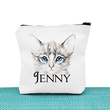 White cosmetic toiletry bag with zipper personalized with name and blue eyed kitten image front view