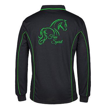 Adults long sleeve polo shirt black green free spirit horse image back view