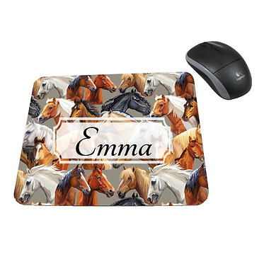 Neoprene computer mouse pad personalised with horse pattern image front view