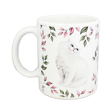 Ceramic coffee mug with white cat and leaf pattern image front view