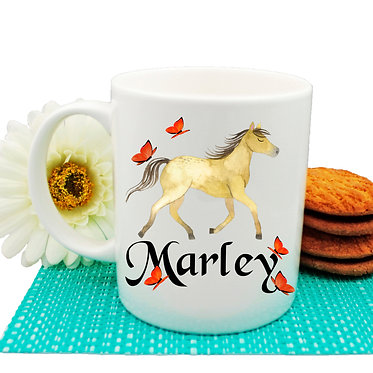 Ceramic coffee mug personalized with text pony with butterflies image front view