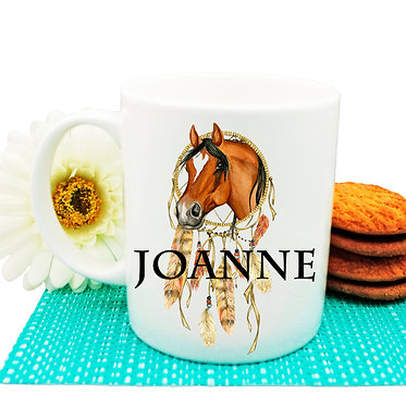 Personalised ceramic coffee mug dream catcher image front view