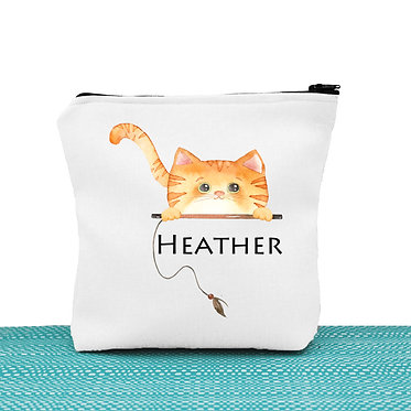 White cosmetic toiletry bag with zipper personalized with name and ginger cat image front view