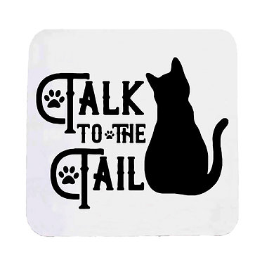 "Neoprene drink coaster black cat ""Talk to the tail"" image front view"