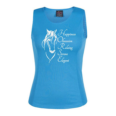 Ladies singlet top aqua with horse and quote image front view