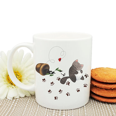 Ceramic coffee mug messy cat with paw prints image front view