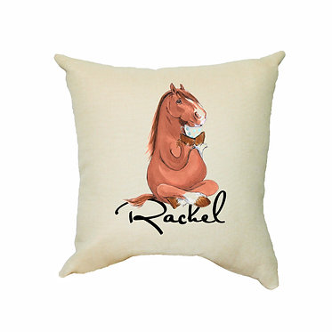 Personalised tan cushion with zip horse sitting cross-legged image front view