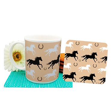 Pattern horse ceramic coffee mug and coaster set front view